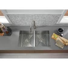 ludington undermount stainless steel 32 in 50 50 double bowl kitchen sink kit
