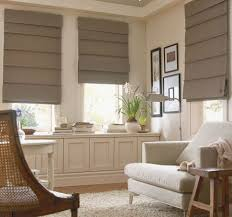 Living Room:Mid Century Interior With White Bay Windows Also Fabric Window  Shades The Fabulous