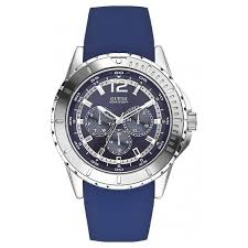 guess men s silver blue silicone strap watch buy now from an guess men s silver blue silicone strap watch
