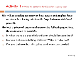 justice childhood love lessons csu module you will learn how to  activity 1  write this as the title for this section on your paper