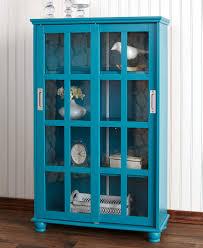 details about blue wooden sliding glass door storage cabinet 4 shelves living room office 38 h