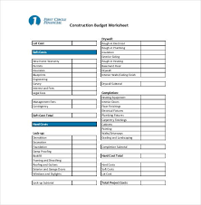 Construction Budgeting 10 Construction Budget Templates Free Sample Example Format