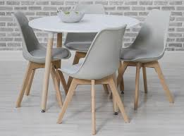 urban white round dining set with 4 grey chairs 75cm cfs uk