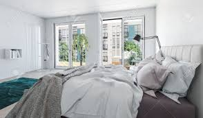 bedroom modern luxury. Bright Airy Modern Luxury Monochrome Grey And White Bedroom Interior With Messy Bed In The Foreground