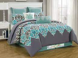 8 pc euro damask french lily fleur de lis comforter set silver gray blue turquoise brown king com