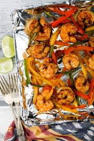 sheet pan shrimp fajitas one pan shrimp fajitas slender kitchen