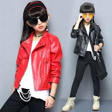 girls leather jackets for kids solid coats autumn children outerwear brand clothes 4 9 years leath