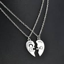 2pcs i love you heart lock key pendant necklace couple chain jewelry gift set