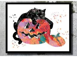 decor pumpkin black cat watercolor art print cat painting wall decor scary print