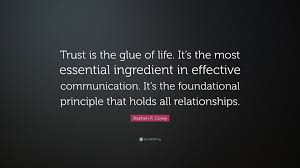 "Good Person Quotes Fascinating Stephen R Covey Quote ""Trust Is The Glue Of Life It's The Most"
