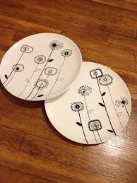 Hand Painted Pottery dinner plates to paint. Sharpie Plates ...