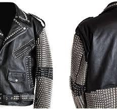 arrow handmade men studded leather biker motorcycle rocker jacket rock punk design