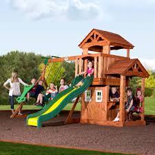backyard discovery tanglewood cedar wooden swing set