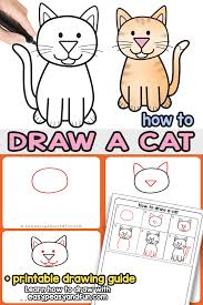 Cat Body Shape Chart How To Draw A Cat Step By Step Cat Drawing Instructions