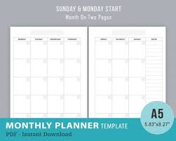 Undated Monthly Planner Inserts Monthly 2 Page Spread Template Filofax A5 Printable Month On Two Pages Layout Mo2p Pdf Instant Download