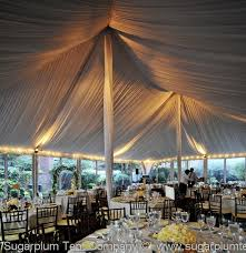 wedding tent lighting ideas. this white pole tent has streamer perimeter lighting combined with uplighting which work well together wedding ideas