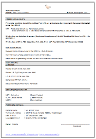 Download Good Resume Format For Freshers Sample Format Of Resume Domov