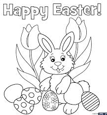 Happy Easter Coloring Pages For Kids Printable Easter Bunny Drawing