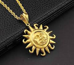 Face Pendant Design Us 30 0 Sun Face Pendant Gold Stainless Steel Tribal Symbol Charm Necklace Chain In Pendants From Jewelry Accessories On Aliexpress
