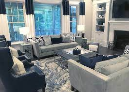 The living room is where you spend a lot of your free time in the house. Navy Blue And Gray Decor Blue Living Room Decor Navy Living Rooms Living Room Decor Gray