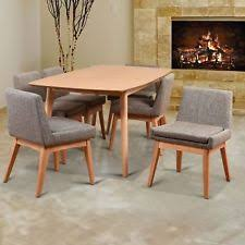 ruby mid century 7 piece natural living room dining set c textile fabric