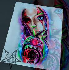 цветной яркий эскиз по хорреру для тату на плече эскиз тату