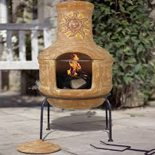 garden treasures gas patio heater fantastic chiminea clay outdoor throughout clay outdoor fireplace