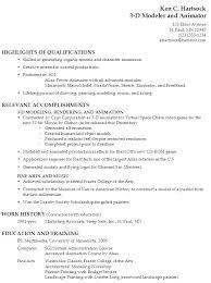 Example Resume 3-D Modeler and Animator