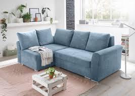 Details Zu Ecksofa Couch Schlafcouch Schlafsofa Blau Denim Pu Topper L Form Universell