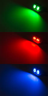 rgb led underwater boat lights and dock lights double lens 120w shown on in green red and blue color modes