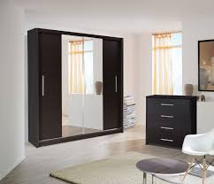 Black Painted Wardrobe With Mirror Door Fines Quality Wood Sliding Models  Richmond Popular Product
