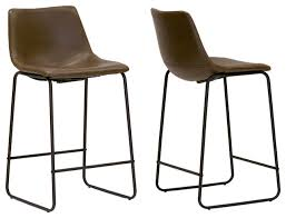 adan iron and leather counter stools set of 2 dark brown