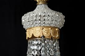 french antique five light empire style chandelier with cut crystals c 1900