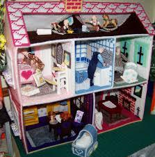 miniature doll furniture. Plastic Canvas Dollhouse With Vintage Dolls. Miniature Doll Furniture