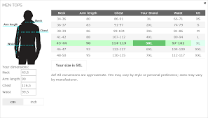 Table Top Size Chart Magento Size Chart
