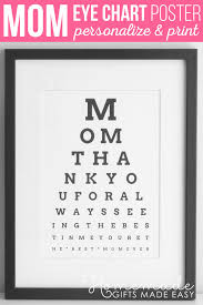 Mother Day Chart Diy Eye Chart Personalized Mothers Day Gift
