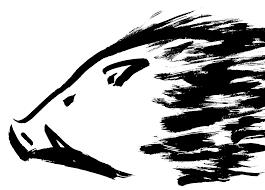2019年亥年迫力のあるイノシシ横顔の墨絵イラスト無料年賀状素材
