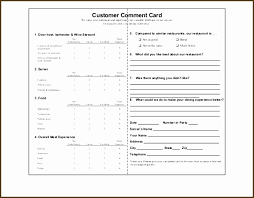 Restaurant Survey Cards Restaurant Comment Card Template Free New Customer Ment Card