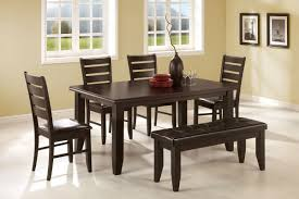 unusual Dining Table Bench in classy dark brown wood varnished upholstered  leather cushion bench set with