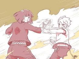 Stated in the canon novel that Hinata trains Boruto the basics at home. And  it's stated during the Hinata vs Hanabi match where Hinata defeats Hanabi  in canon novel the animators haven't