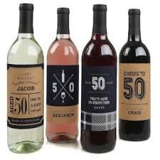 50th birthday gift wine bottle labels
