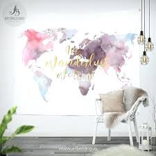 map wall tapestry in wander we trust world map wall tapestry watercolor world map wall hanging map wall tapestry