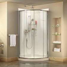 dreamline prime white acrylic wall and floor round 3 piece corner shower kit actual