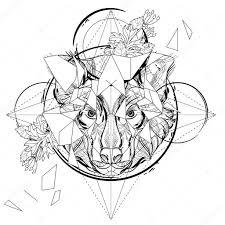 волк графика эскиз волк голову низко полигональную эскиз