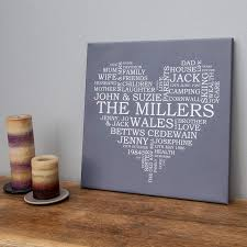 personalised typography canvas wall art