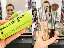 two pictures left picture neon yellow of quick fix plexion makeup