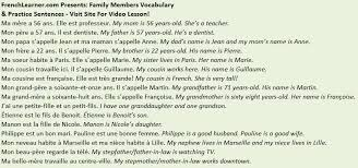 french family members vocabulary phrases nous vivons ensemble we live together