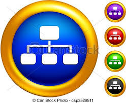 Structure Chart Icon On Buttons With Golden Borders