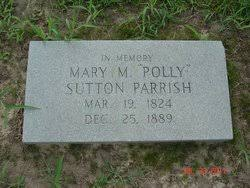 """Mary M. """"Polly"""" Sutton Parrish (1824-1889) - Find A Grave Memorial"""