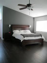 bedroom grey bedroom walls white duals floating bedside table brown platform bed black gloss dressing